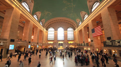 Commuter crowd people in Grand Central terminal station time lapse - stock footage