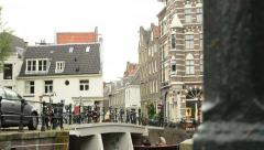 City Street in Amsterdam on an Overcast Day Stock Footage