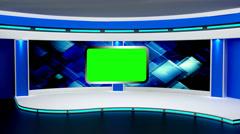 News TV Studio Set 03 - Virtual Green Screen Background Loop - stock footage