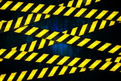 Yellow and black cordon tape - stock illustration