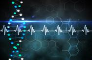 Stock Illustration of Blue DNA strand with ECG line
