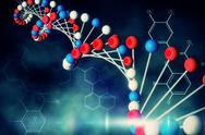 Stock Illustration of Blue DNA strand with chemical structures
