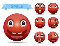 Red circle glossy emoticon smiley Stock Illustration