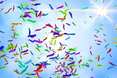 Many feathers blowing in the breeze Stock Illustration