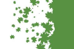 Stock Illustration of Green stencil leaf pattern on white