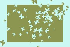 Stencil butterfly pattern design in green and blue - stock illustration