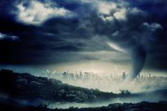 Stock Illustration of Stormy sky with tornado over cityscape