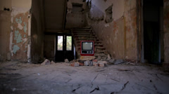 Broken Television in Abandoned House alpha Stock Footage