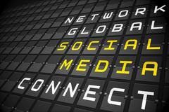 Social media buzzwords on black mechanical board Stock Illustration