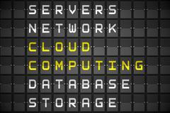 Cloud computing buzzwords on black mechanical board Stock Illustration