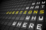 Stock Illustration of Questions on black mechanical board