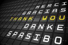 Thank you in languages on black mechanical board - stock illustration