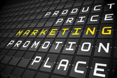 Marketing buzzwords on black mechanical board Stock Illustration