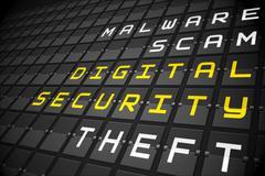 Digital security buzzwords on black mechanical board Stock Illustration