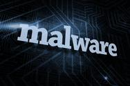 Stock Illustration of Malware against futuristic black and blue background