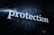 Stock Illustration of Protection against futuristic black and blue background