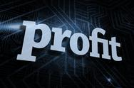Stock Illustration of Profit against futuristic black and blue background