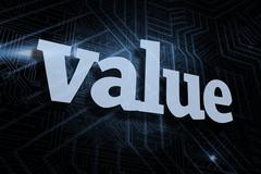 Value against futuristic black and blue background - stock illustration