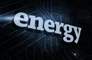 Stock Illustration of Energy against futuristic black and blue background