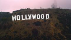 HOLLYWOOD SIGN Ariel Red Epic Dragon footage Stock Footage