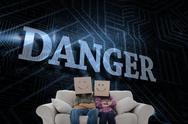 Stock Illustration of Danger against futuristic black and blue background