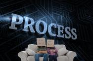 Stock Illustration of Process against futuristic black and blue background