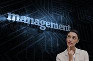 Stock Illustration of Management against futuristic black and blue background