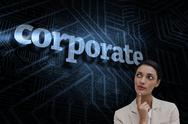 Stock Illustration of Corporate against futuristic black and blue background