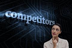 Competitors against futuristic black and blue background - stock illustration