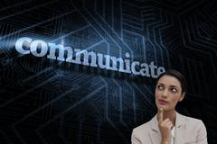 Stock Illustration of Communicate against futuristic black and blue background