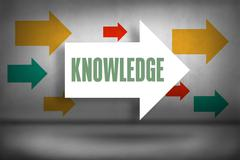 Knowledge against arrows pointing - stock illustration