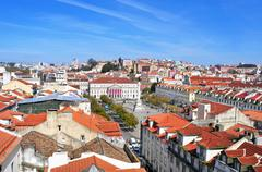 Stock Photo of aerial view of rossio square in lisbon, portugal