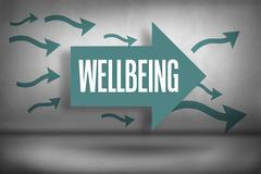 Wellbeing against arrows pointing - stock illustration