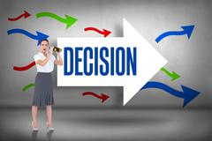 Stock Illustration of Decision against arrows pointing