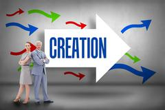 Stock Illustration of Creation against arrows pointing