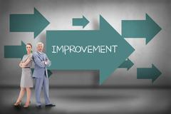 Improvement against blue arrows pointing - stock illustration