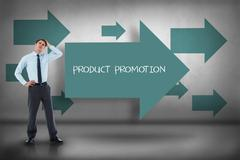 Stock Illustration of Product promotion against blue arrows pointing