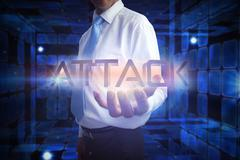 Stock Illustration of Businessman presenting the word attack