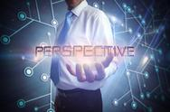 Stock Illustration of Businessman presenting the word perspective