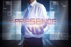 Businessman presenting the word presence Stock Illustration