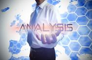 Stock Illustration of Businessman presenting the word analysis
