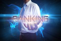 Businessman presenting the word ranking - stock illustration