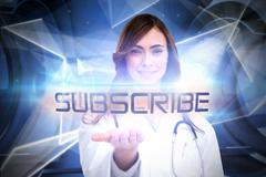 Stock Illustration of Subscribe against white abstract angular design