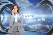 Stock Illustration of Device against clouds in a futuristic structure