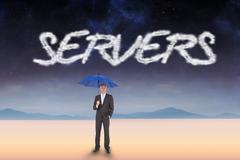 Stock Illustration of Servers against serene landscape