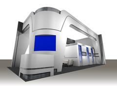3D Exhibition Booth - stock illustration