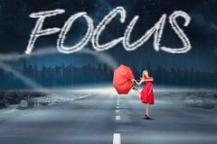 Focus against road leading out to the horizon - stock illustration
