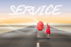 Stock Illustration of Service against road leading out to the horizon