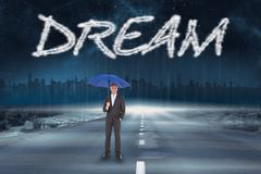 Stock Illustration of Dream against road leading out to the horizon