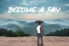 Stock Illustration of Become a fan against scenic countryside with mountains